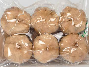 black garlic in vacuum bags